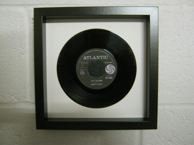 "Sonny & Cher - ""I Got You Babe"" Wall Framed 7"" Record"