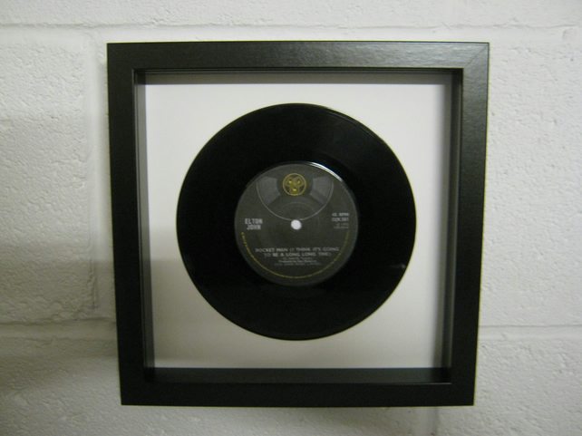 "Elton John - ""Rocket Man"" Wall Framed 7"" Record"