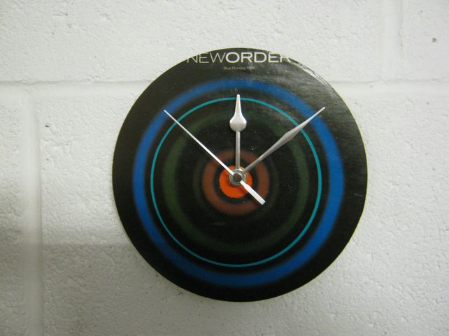 "New Order - ""Blue Monday"" 7"" Vinyl Record Sleeve Wall Clock"