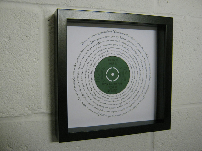 "Rick Astley - ""Never Gonna Give You Up"" Wall Framed Spiral Lyrics"
