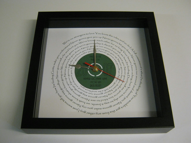 "Rick Astley - ""Never Gonna Give You Up"" Framed Spiraling Lyrics Wall Clock"