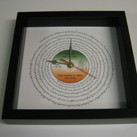 "Bette Midler - ""Wind Benath My Wings"" Framed Spiraling Lyrics Wall Clock"