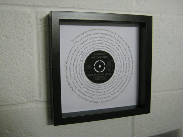 "Louis Armstrong - ""What A Wonderful World"" Wall Framed Spiraling Lyrics"