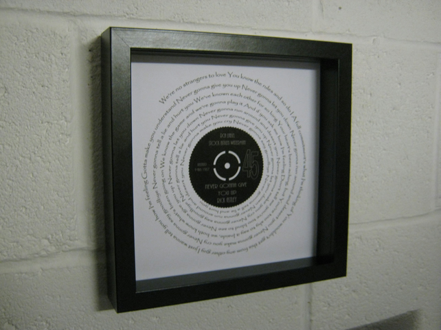 "Rick Astley  - ""Never Gonna Give You Up"" Wall Framed Spiraling Lyrics"