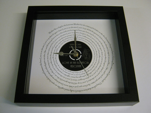 "Aerosmith - ""Love In An Elevator"" Framed Spiraling Lyrics Wall Clock"