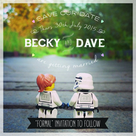 Star Wars Inspired Lego Save the Date