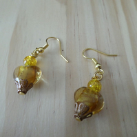 Crackle beaded gold Earrings