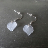 Pale blue leaf earring