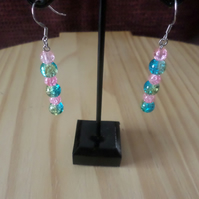 Pink crackle beaded  Earrings