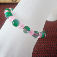 Green and pink beaded bracelet