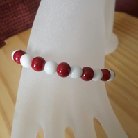 Red white bracelet set