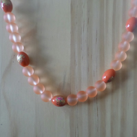 Orange frosted  necklace set
