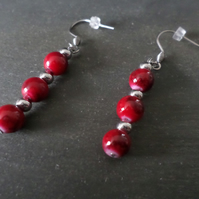Red mottled Earrings