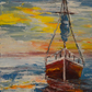 """Boat at Sunset"" - original painting acrylic on canvas"