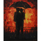"""Two enamoured under an umbrella"" - original painting acrylic on canvas board"