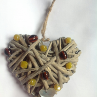 Heart and Bead Wall Hanging