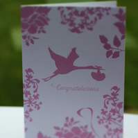 Congratulations New Baby Pink Card