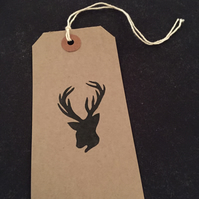 Hand printed stag gift label