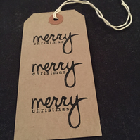 Hand printed Merry Christmas gift tag