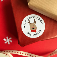 Personalised Reindeer Rudolph Stickers