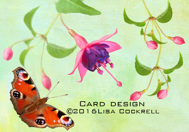 Exclusive Butterfly Fuschia Garden Greetings Card