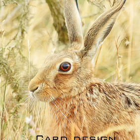 Exclusive Handmade Hare Meadow Greetings Card