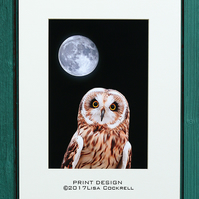 OWL MOON PRINT (A4 approx) MOUNTED FOR 40 X 30 CM FRAME