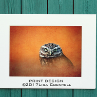 GOLDEN OWL PRINT  (A4 approx) MOUNTED FOR 40 X 30 CM FRAME
