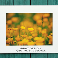 BUTTERCUP MEADOW PRINT (A4 approx) MOUNTED FOR 40 X 30 CM FRAME