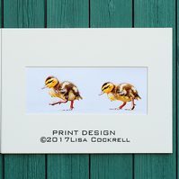 DUCKLING PARADE PRINT - MOUNTED FOR 40 X 30 CM FRAME
