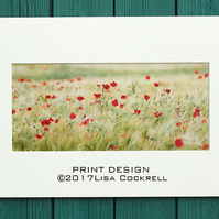 POPPY FIELD PRINT - MOUNTED FOR 40 X 30 CM FRAME