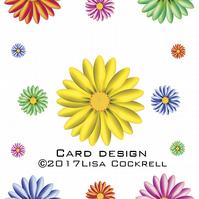 Funky Flowers, Exclusive Handmade Nature Greetings Card