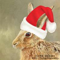 Exclusive Handmade Hare At Christmas Card
