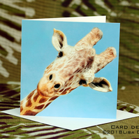 Exclusive Handmade Giraffe Hello Greetings Card on Archive Photo Paper
