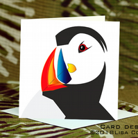 Exclusive Handmade Funky Puffin Greetings Card on Archive Photo Paper