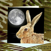 Exclusive Handmade Hare & Moon Greetings Card on Archive Photo Paper