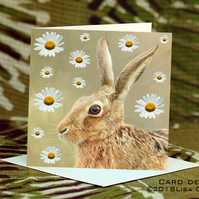 Exclusive Handmade Hare & Daisies Greetings Card on Archive Photo Paper