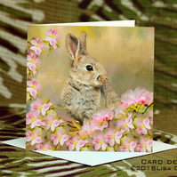 Exclusive Handmade Bunny Blossom Greetings Card on Archive Photo Paper