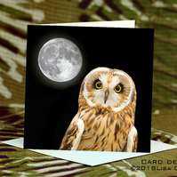 Exclusive Handmade Owl Moon Greetings Card on Archive Photo Paper