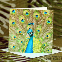Exclusive Handmade Peacock Greetings Card on Archive Photo Paper