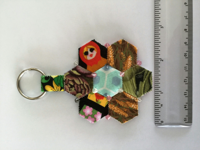 Hand stitched hexi patch keyring with Swarovski bead decoration