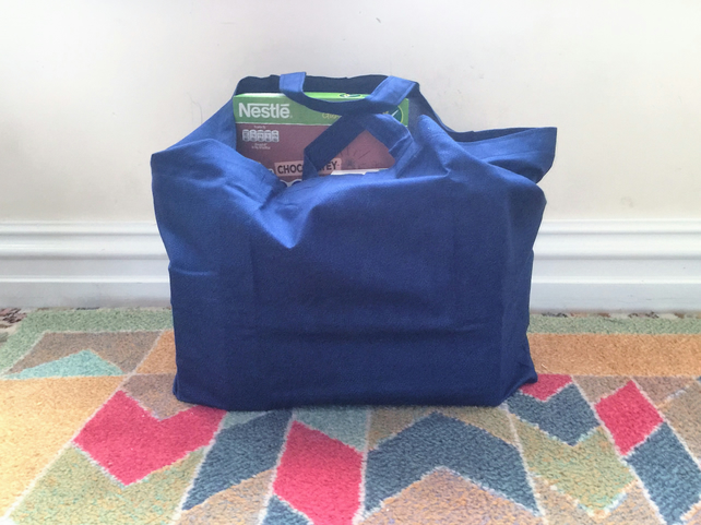 Dark Blue cotton shopping bag