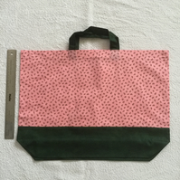 Cotton two tone large shopper tote bag