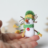 Miniature crochet Snowman, Christmas gift, winter holidays home decor,