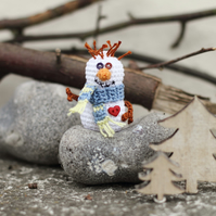 Crochet snowman, miniature Christmas decor, ornament. Christmas gift