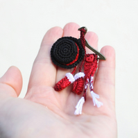 Crochet Christmas brooch, pin, Christmas gift, accessories, winter holidays