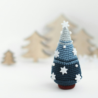 Christmas tree snowflakes miniature crochet ornament blue winter home decore
