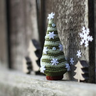 Miniature Christmas tree, crochet winter holidays ornament, home decor, gift