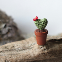 Cactus heart miniature crochet plant in wooden pot, amigurumi doll house