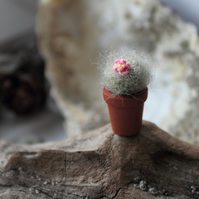 Crocheted potted plant cactus. Micro miniature cactus. Dollhouse miniature.